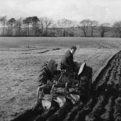 David Bowen ploughing the House Field at Plas Farm circa. 1965 by Tony Bowen